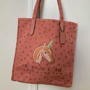 COACH Uni Unicorn Canvas Tote # 26971 NEW w tag